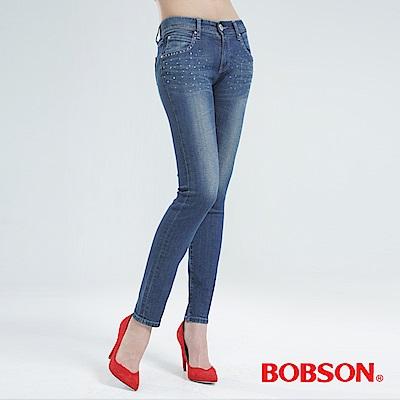 BOBSON 鑽飾優質棉小直筒褲-中藍 8120-53