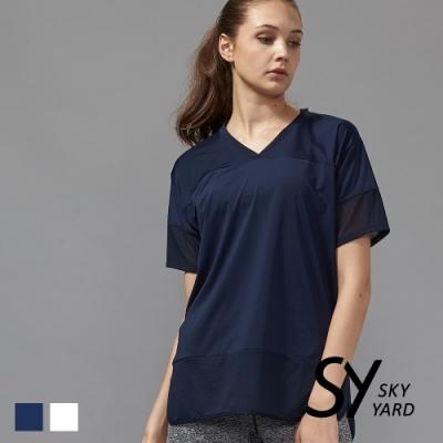 【SKY YARD 天空花園】網紗拼接休閒造型上衣-藍黑色