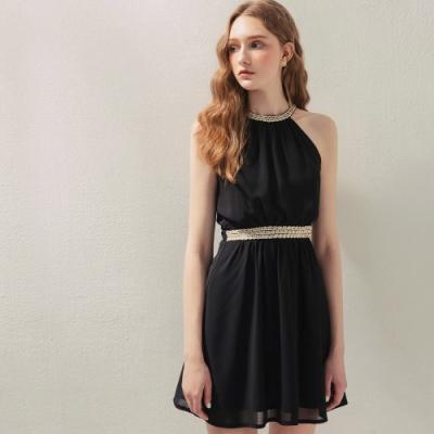 AIR SPACE 優雅珠飾削肩背心短洋裝(黑)