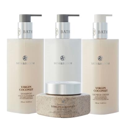 Bath & Bloom 全方位香氛潔淨套組-冷萃椰油 (洗髮/潤髮/沐浴精/去角質)