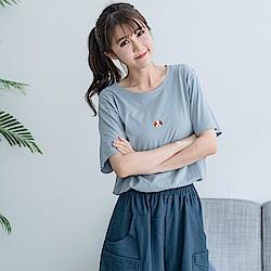 慢 生活 狗頭刺繡純色短袖T-紅/藍