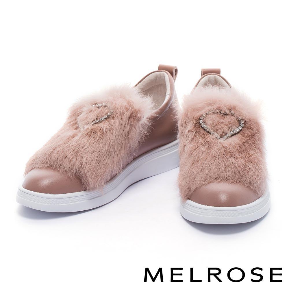 休閒鞋 MELROSE 奢華甜美愛心鑽飾設計柔軟兔毛全真皮休閒鞋-粉