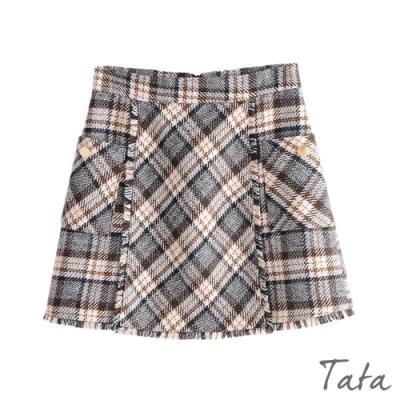拼接毛鬚格紋裙 TATA-M