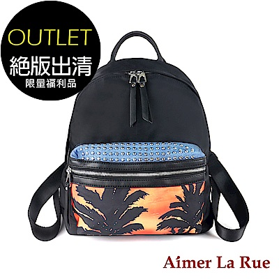 [福利品]Aimer La Rue 南洋風情尼龍後背包(黑色)(絕版出清)