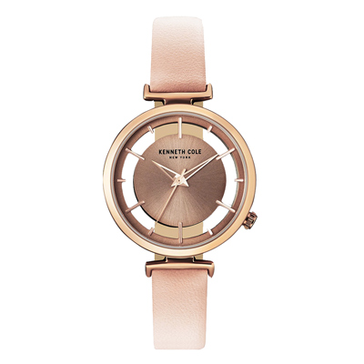 Kenneth Cole 夢幻透視系列皮革腕錶-粉紅色(KC50590001)-33mm