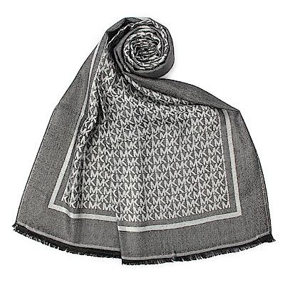 MICHAEL KORS 滿版字母LOGO雙面針織薄圍巾-黑灰色