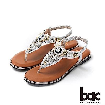 bac繽紛曼谷 - 波西米亞風格鑽飾夾腳拖涼鞋-銀色