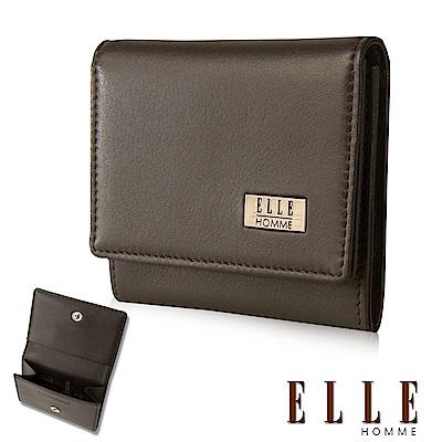 ELLE 法式精品簡約造型頭層皮釦式零錢包- 咖啡色
