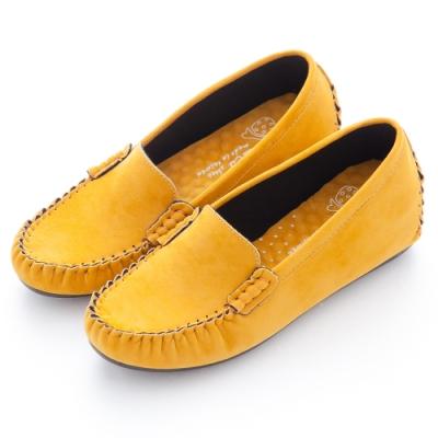 River&Moon莫卡辛-台灣製素面厚切乳膠內增高麂絨豆豆鞋-黃
