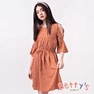 betty's貝蒂思 圓點印花挖肩收腰鐘型袖洋裝(紅色)