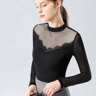 專注內搭-黑色小高領網紗內搭長袖拼接蕾絲邊透視性感上衣(S-3XL可選)