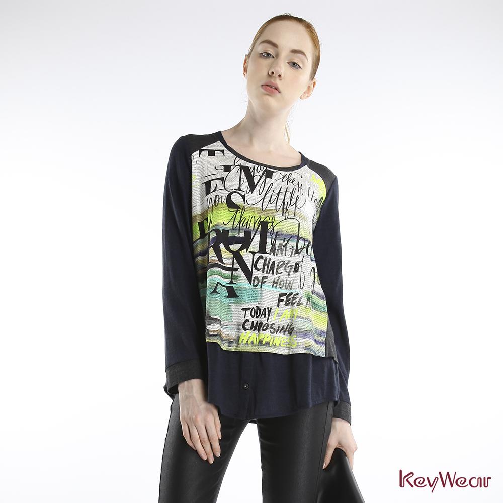 KeyWear奇威名品    歐式風格報紙印刷水彩暈染長袖上衣-黃綠色