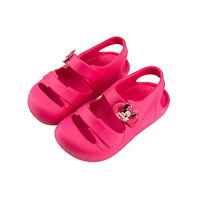 迪士尼童鞋 米妮 魔鬼氈防水涼鞋-桃