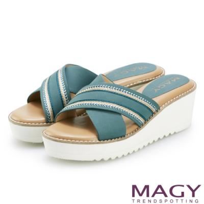 MAGY 異國繡線寬版交叉牛皮厚底拖鞋 藍綠