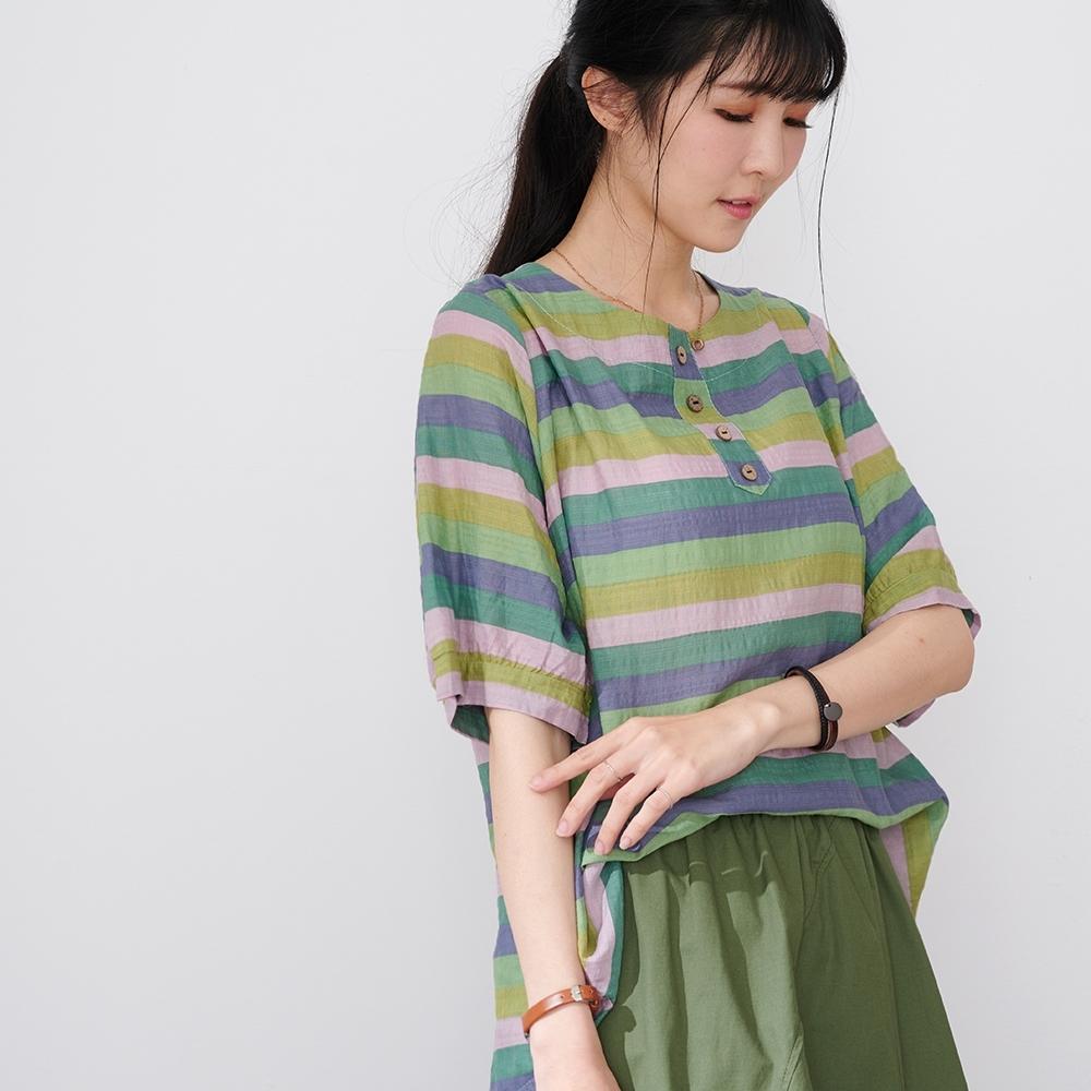 慢 生活 配色條紋皺面薄棉上衣- 綠色