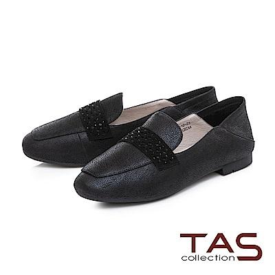 TAS 質感素面拼接踩腳樂福鞋-時尚黑