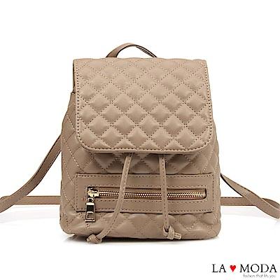 La Moda 人氣小香風菱格紋車線大容量多背法肩背斜背後背包(杏)