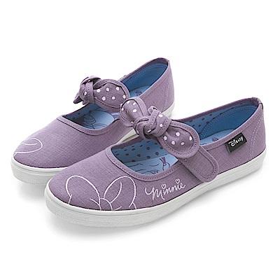 DISNEY 甜蜜物語 米妮魔鬼氈娃娃鞋-紫