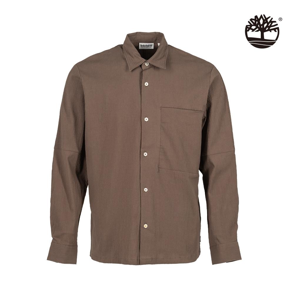 Timberland 男款巧克力色泡泡紗長袖襯衫|A2DD4
