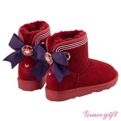 Grace gift-美少女戰士蝴蝶結變身器雪靴 紅