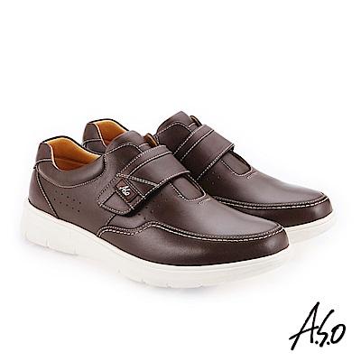 A.S.O 超能耐二代牛皮方楦魔鬼氈機能休閒鞋咖啡