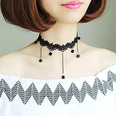 梨花HaNA 韓國手工蕾絲刺繡吊綴黑水晶頸鍊
