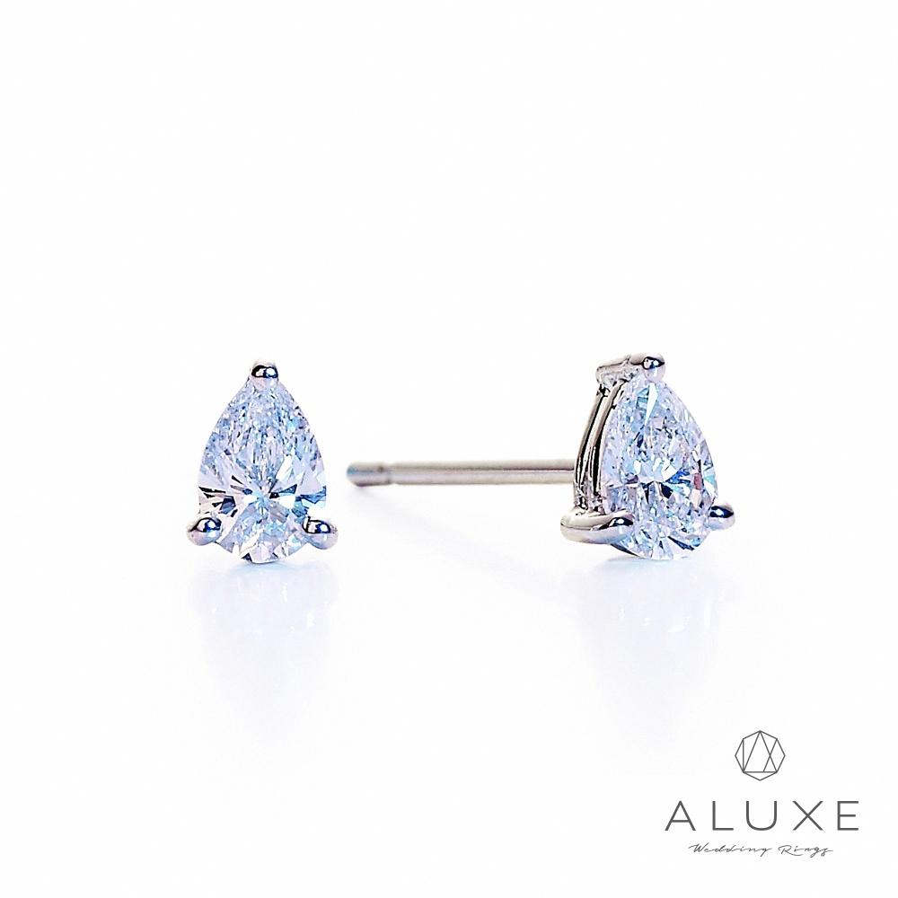 ALUXE亞立詩 總重 0.30克拉 梨形水滴美鑽耳環