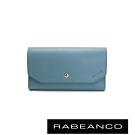 RABEANCO 摩登時尚信封設計撞色長夾 天藍