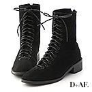 D+AF 個性有型.綁帶絨料方頭低跟短靴*黑