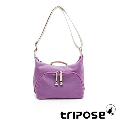 tripose MEMENTO微皺尼龍牛角斜背包-小-夢幻紫
