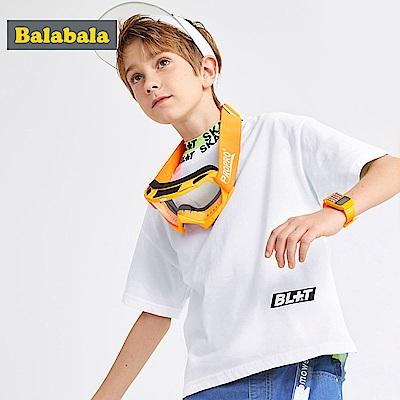 Balabala巴拉巴拉-帥氣滑板印花純棉短袖T恤-男(2色)