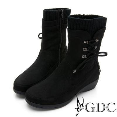 GDC-秋冬熱銷基本素色拼接綁帶金屬楔型襪靴-黑色