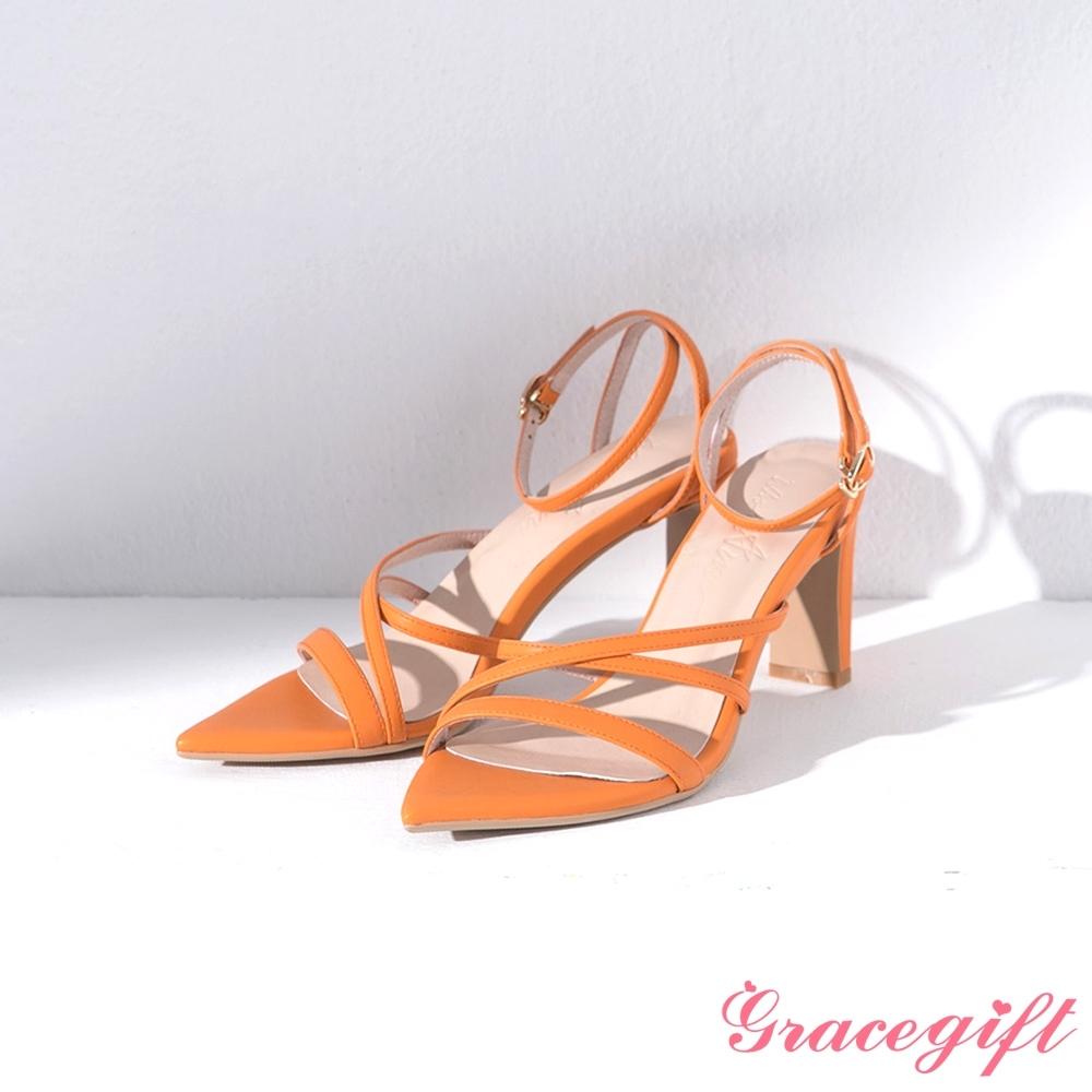 Grace gift X Ann-聯名繞踝尖頭高跟涼鞋 橘