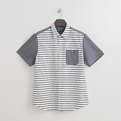 Hang Ten - 男裝 - 休閒拼接格紋襯衫-白