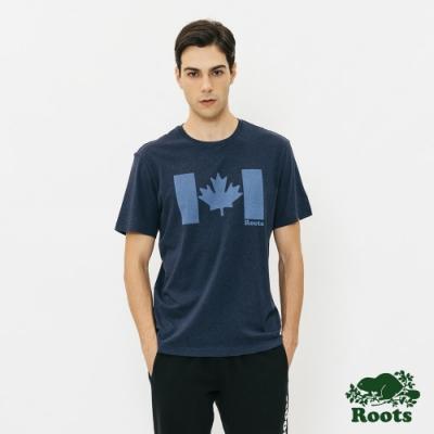 男裝Roots-原創楓葉國旗短袖T恤-藍