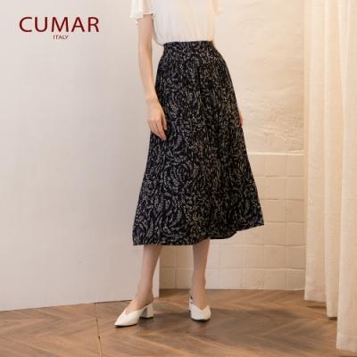 【CUMAR】草葉立體壓褶-長裙(二色)