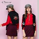 OUWEY歐薇 美式貼布繡針織披肩(黑)