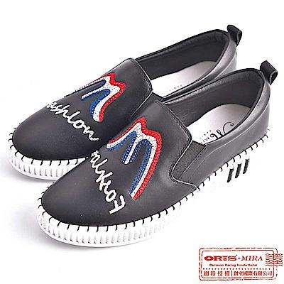 MIRA 女款 春天漫遊水鑽壓紋休閒懶人鞋 W9806N01