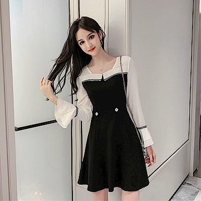 DABI 韓國風名媛優雅修身撞色拼接喇叭袖長袖洋裝