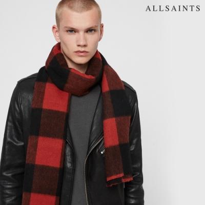ALLSAINTS BUFFALO CHECK 舒適保暖純羊毛格紋編織圍巾-紅黑格紋