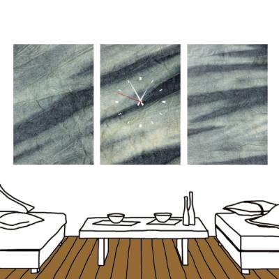 24mama掛畫 三聯式 時鐘掛畫無框畫 40x60cm-瑄染石紋