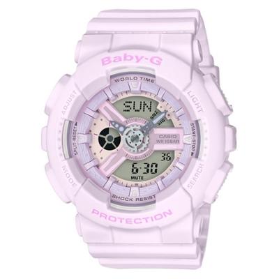 BABY-G 心花朵朵開粉嫩氣息設計休閒錶( BA-110-4A2)-櫻花香檳粉/43.3mm