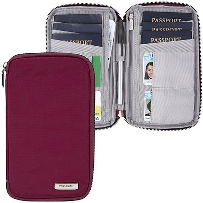 《TRAVELON》多功能旅遊護照包(紅)