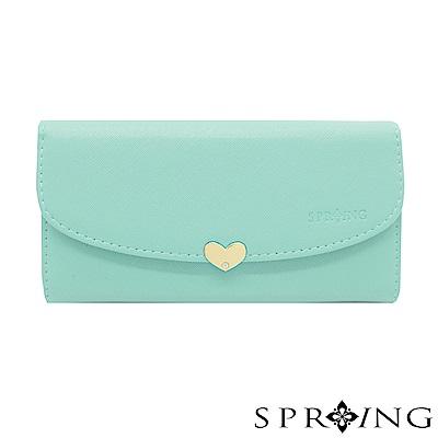 SPRING-怦然心動釦式長夾-優雅藍綠