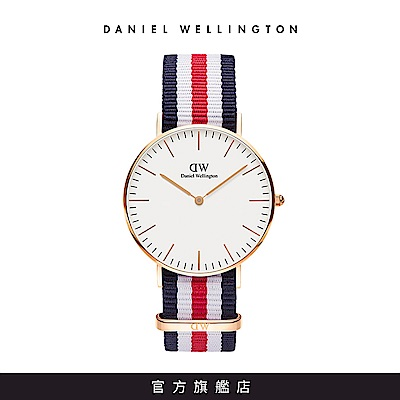 DW 手錶 官方旗艦店 36mm玫瑰金框 Classic 經典藍白紅織紋錶