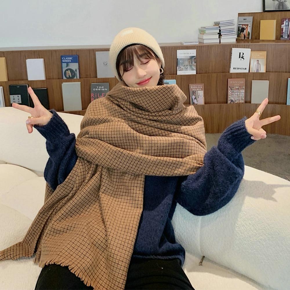 【KISSDIAMOND】復古文青風格紋保暖加長圍巾披肩(保暖/舒適/百搭/KDM-B01)