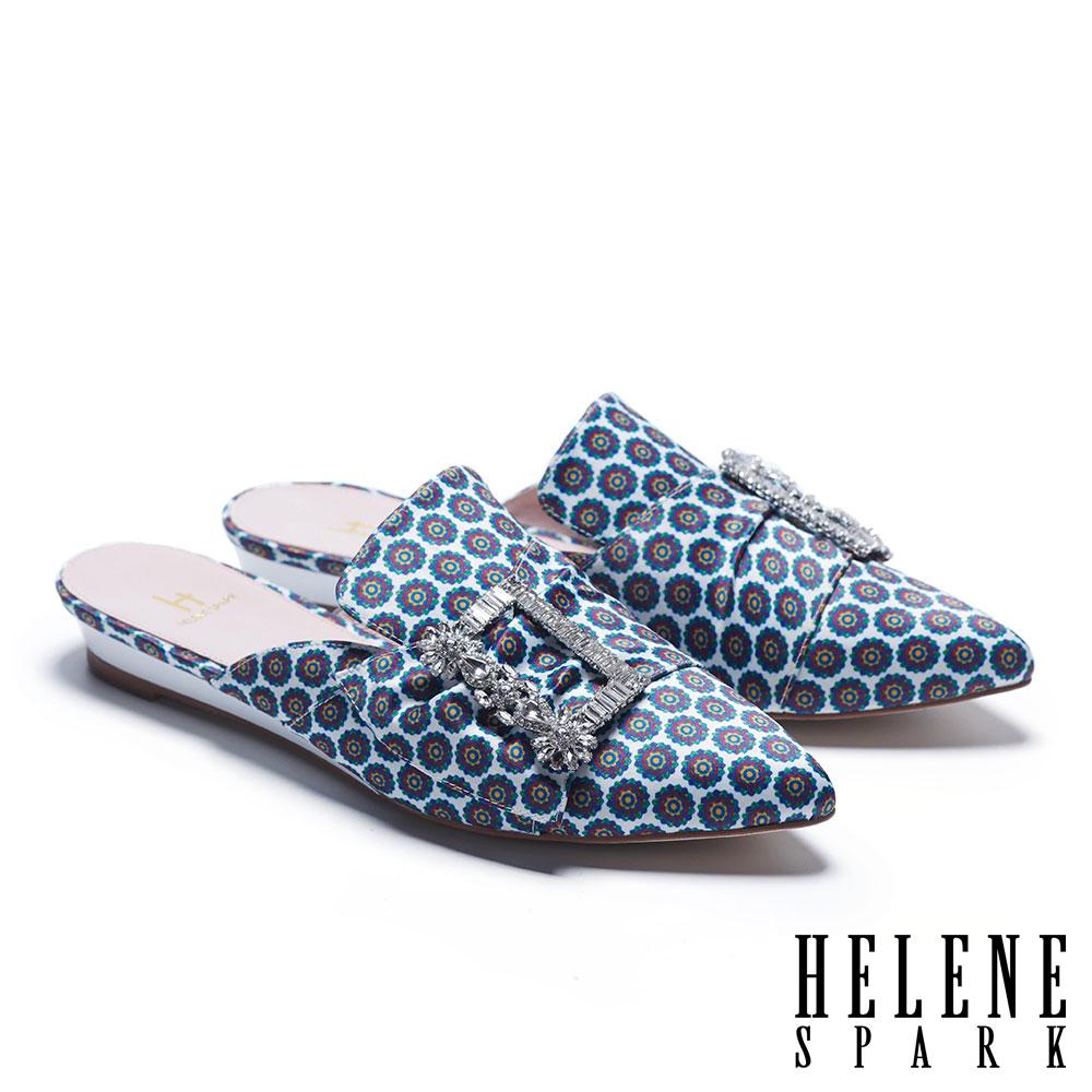 拖鞋 HELENE SPARK 潮流晶鑽方釦印花緞布低跟穆勒拖鞋-白