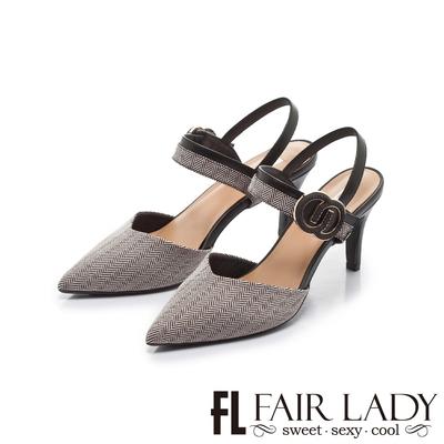 FAIR LADY 優雅小姐 尖頭拚色雙C釦高跟涼鞋 斜紋黑