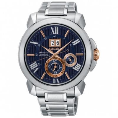 SEIKO精工Premier人動電能自動追時萬年曆腕錶-銀x深藍SNP153J1