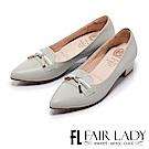 Fair Lady Cube Chic塊時尚 百搭蝴蝶結飾尖頭粗跟鞋 經典灰